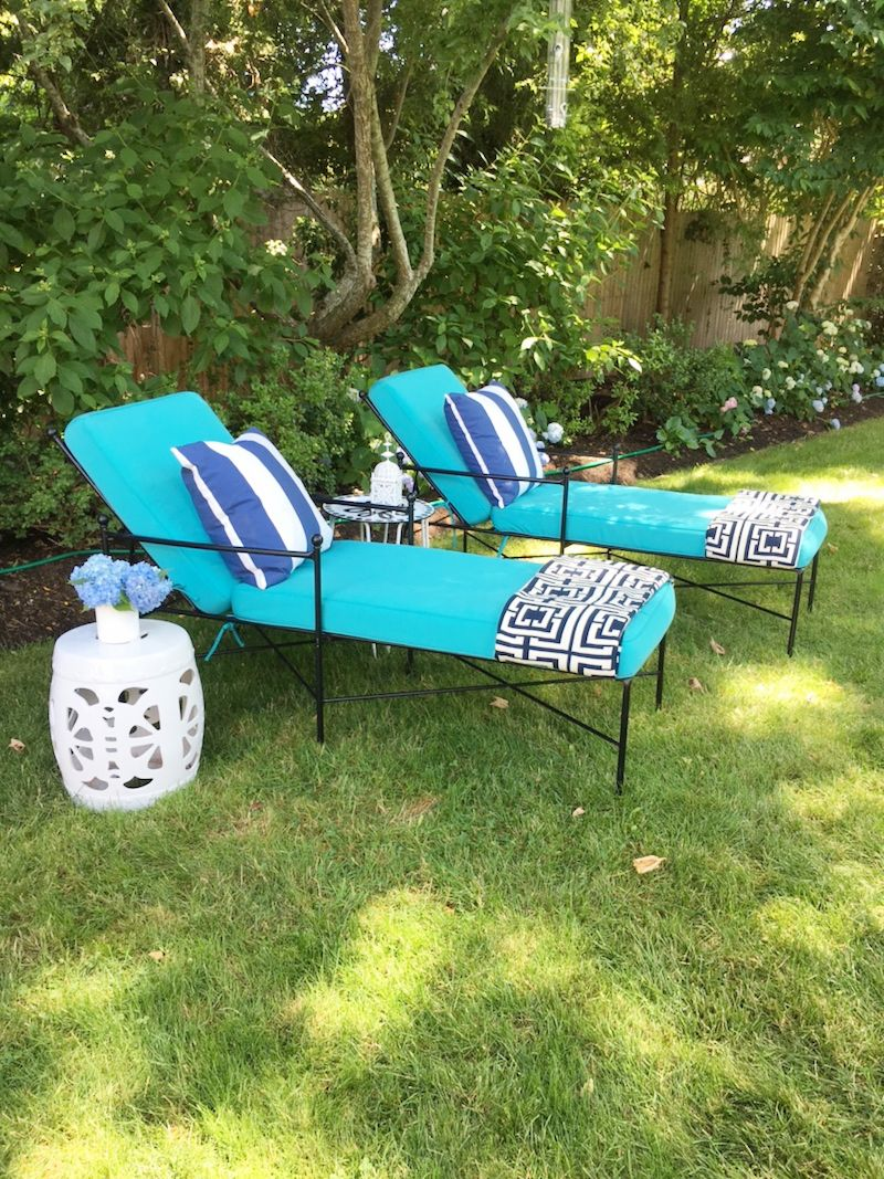 Lounge Area Turquoise Chaise Lounge Chairs Side Table Striped Pillows Cococozy Throw