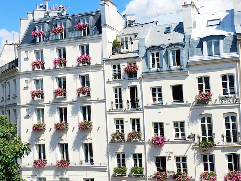 Paris Apartment White Exterior Flower Box