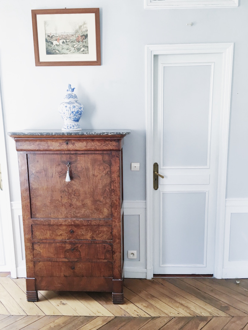 Paris dining room wood cabinet white grey walls