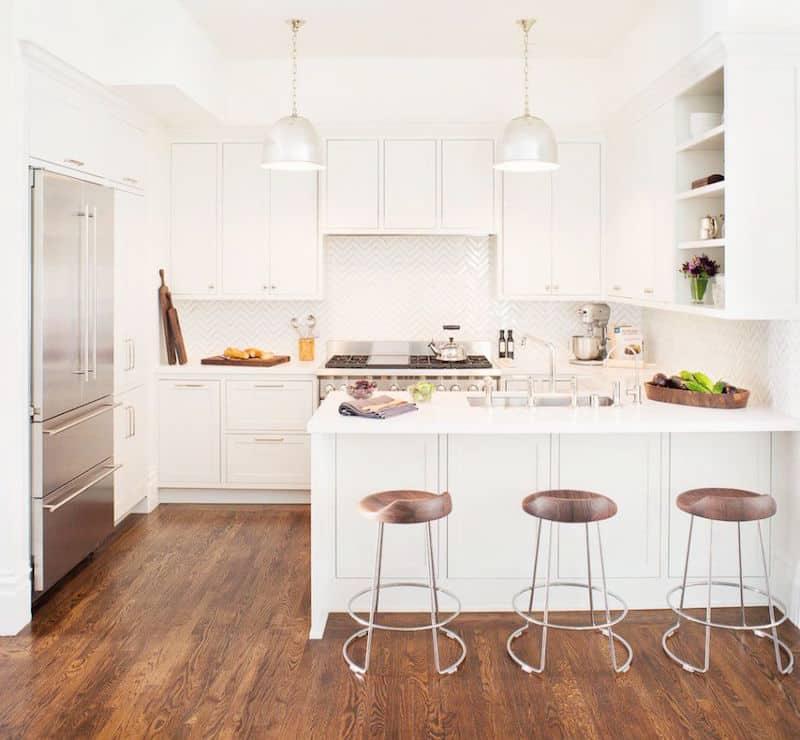 u shape kitchens white cabinets bar stools stainless steel pendant lights
