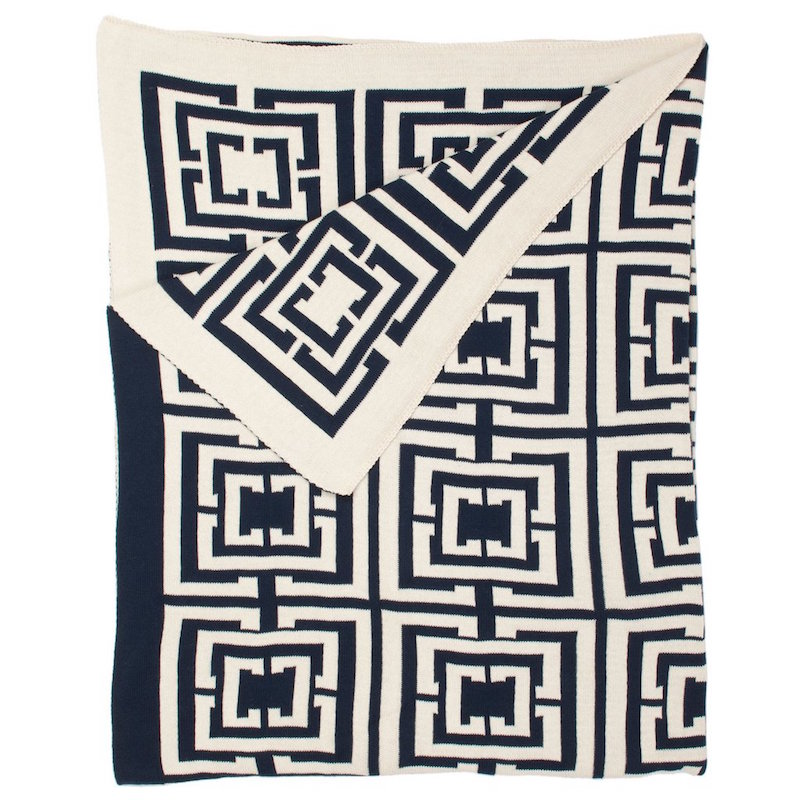 cococozy logo throw navy New York City Living Room