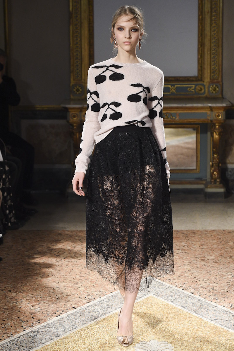 Les Copians Black Lace Skirt Cream Sweater Fall Fashion Looks