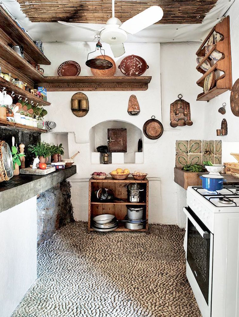 rustic greek Villa Kitchen White Walls Stone Floor