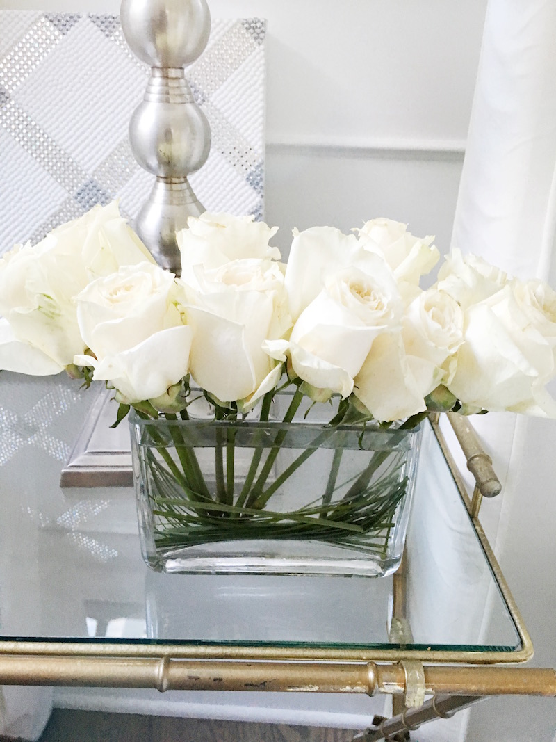 white roses bedside table