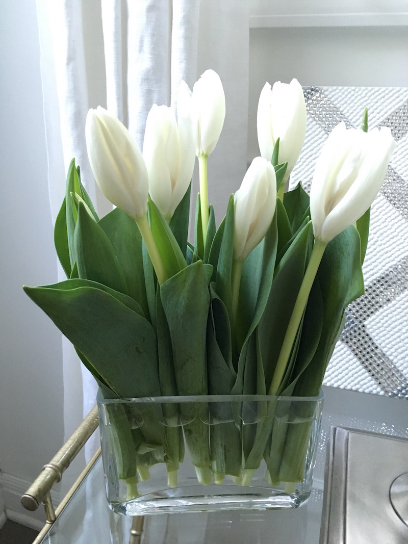 white tulips bedside table
