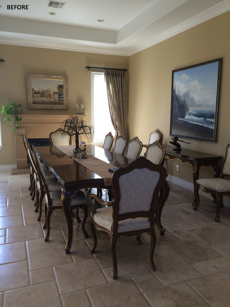 california home remodel dining room before dark brown cream upholstered chairs drapes gold walls