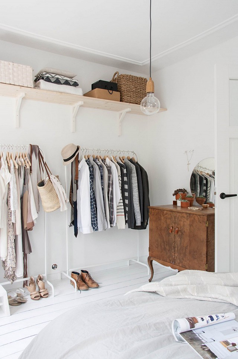 clothing rack closets shelving white