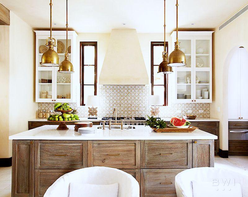 costa rica vacation home kitchen wooden island gold pendant lighting tile backsplash