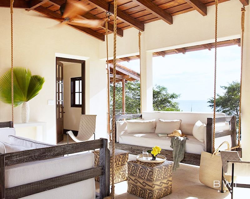 costa rica vacation home living room swing