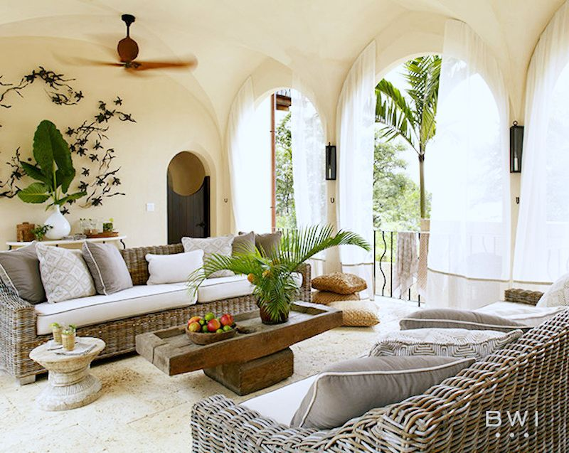 las catalinas costa rica vacation home living room ocean views couches wooden coffee table