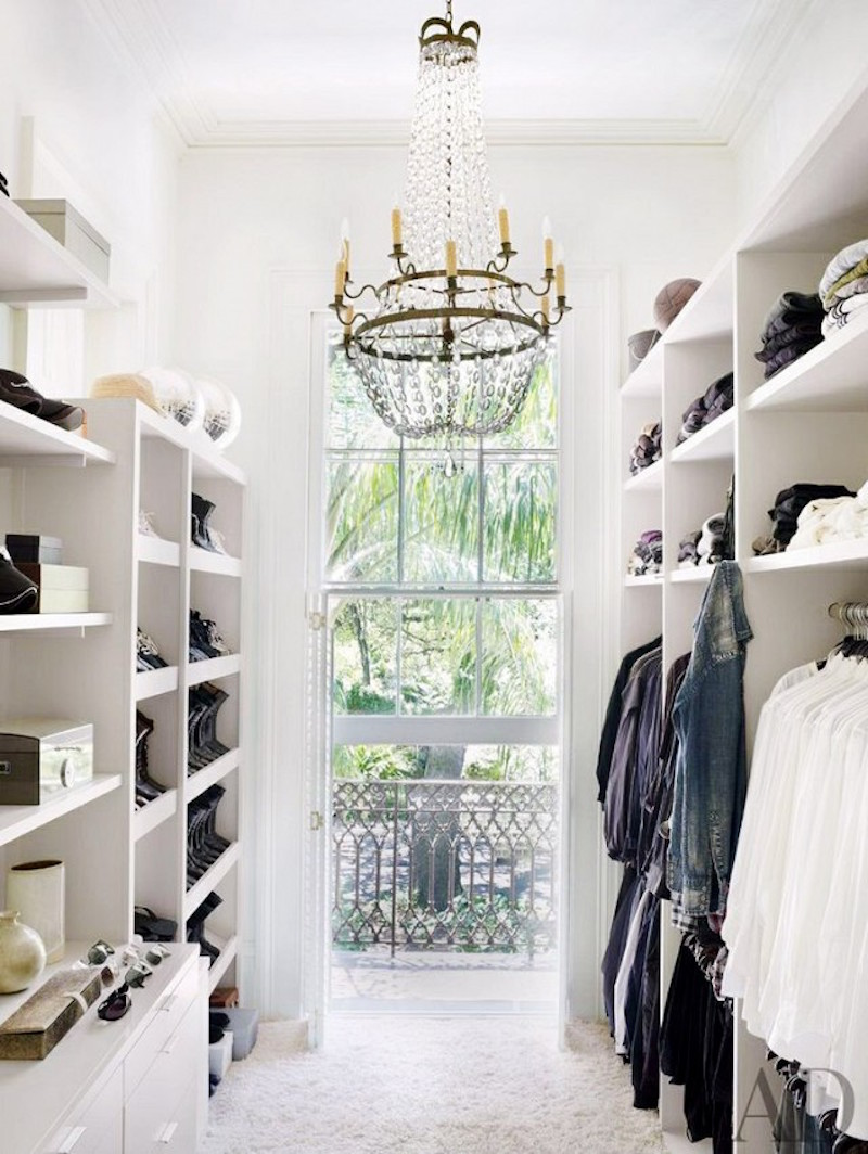 chandelier closets walk in white