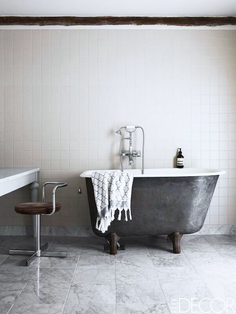 monochromatic bathroom vintage tub