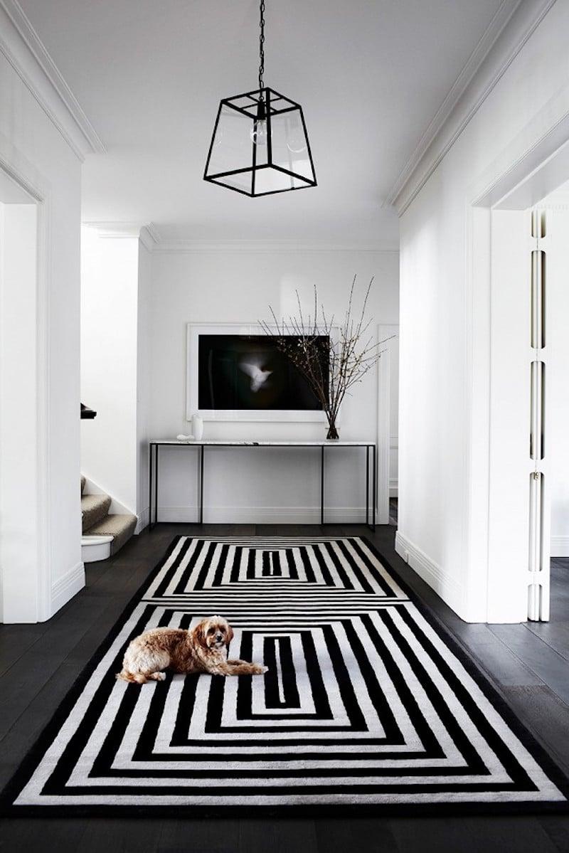 australian entry way striped rug lantern dog white walls