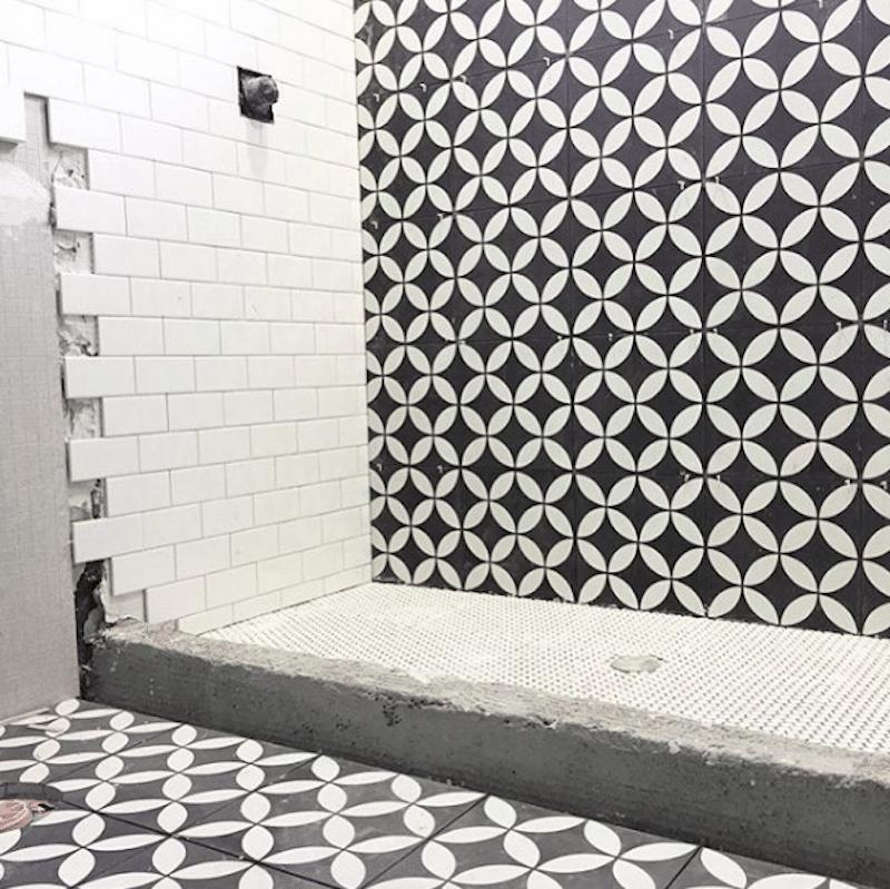 Black White Shower Tile