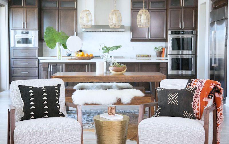 kitchen chandelier sheepskin rug