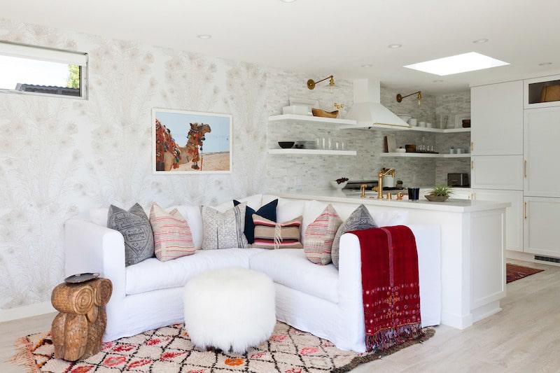 small white kitchen living room