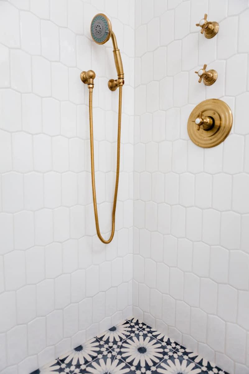 boho bathroom brass shower head