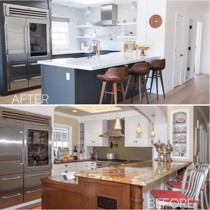 two rooms before after kitchen barstools