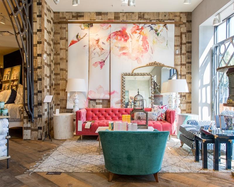 living room design pink teal velvet sofa