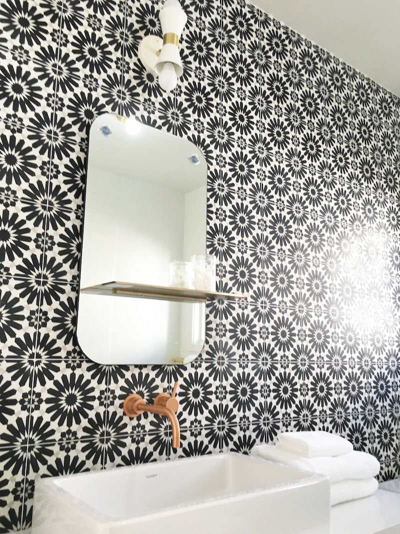 black white cement tile mirror sink bathroom