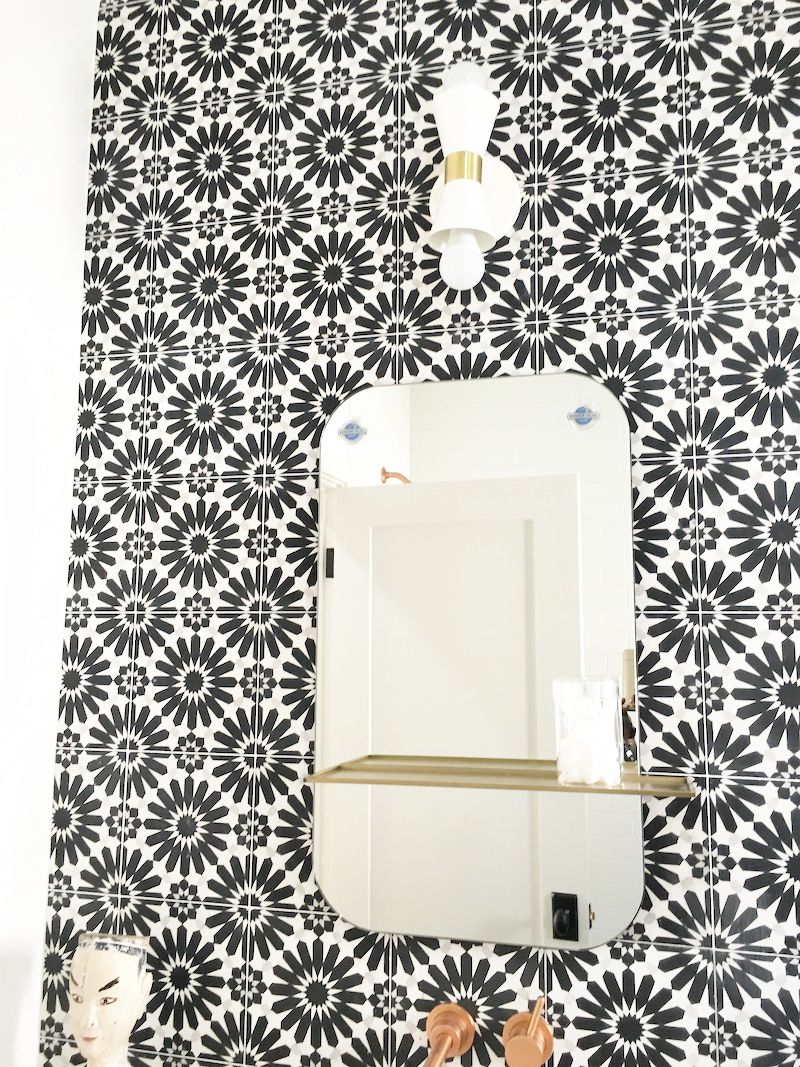 black white cement tile mirror bathroom
