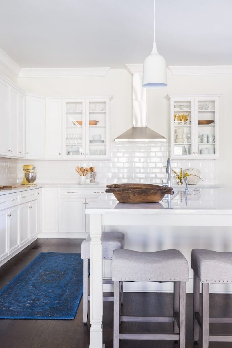 classic white kitchen blue rug grey barstools