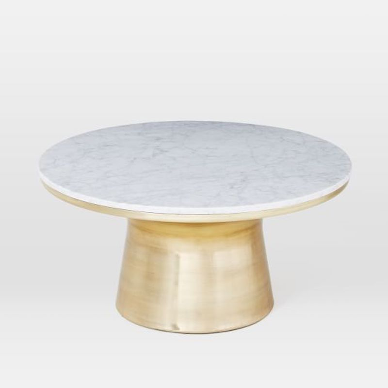 gold coffee table round marble