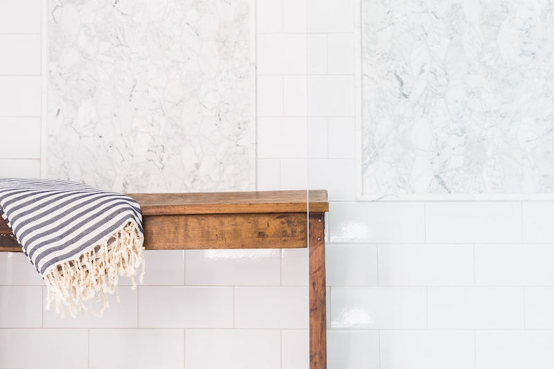 white marble bathroom bench