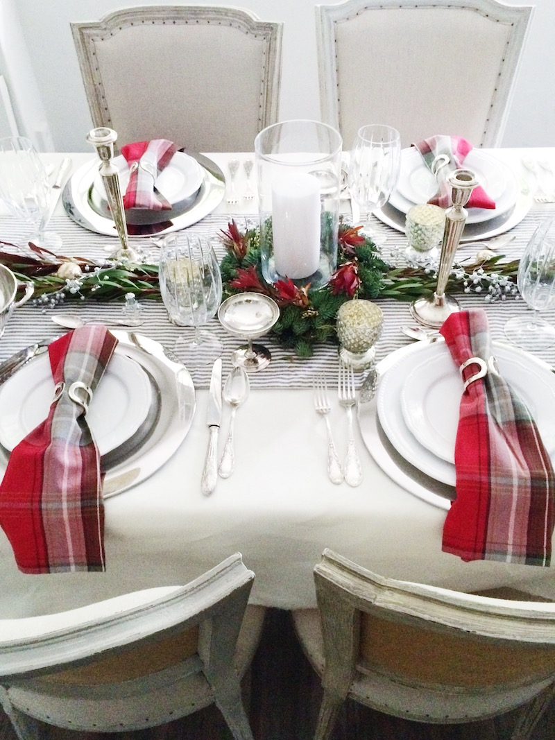 christmas eve dinner tabletop settings chairs napkins