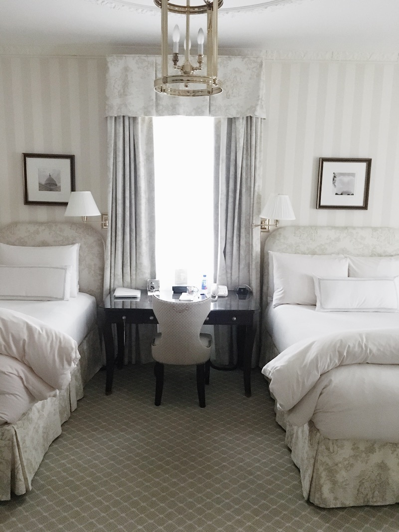 classic bedroom toile stripes