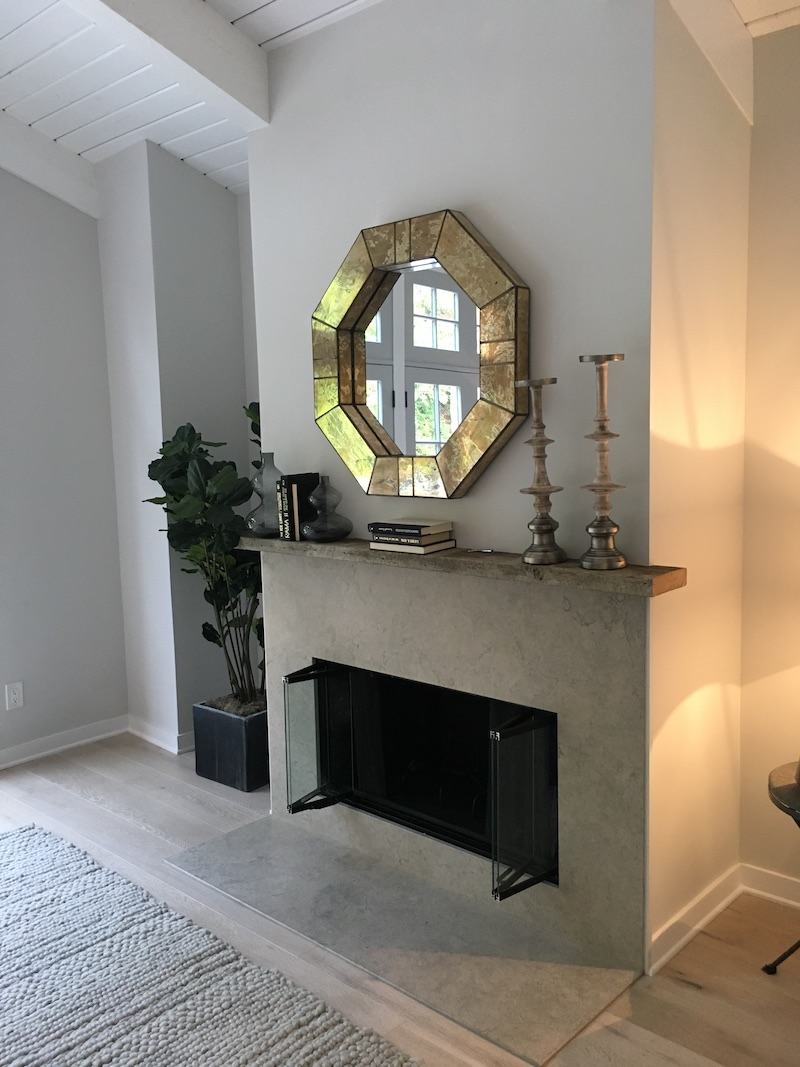 fireplace mantel inspiration living room octagonal mirror COCOCOZY