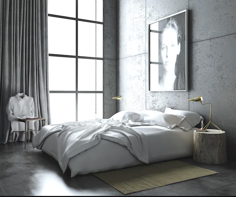 Apartment Bedroom: Concrete Walls - Barcelona Modern Loft Apartment