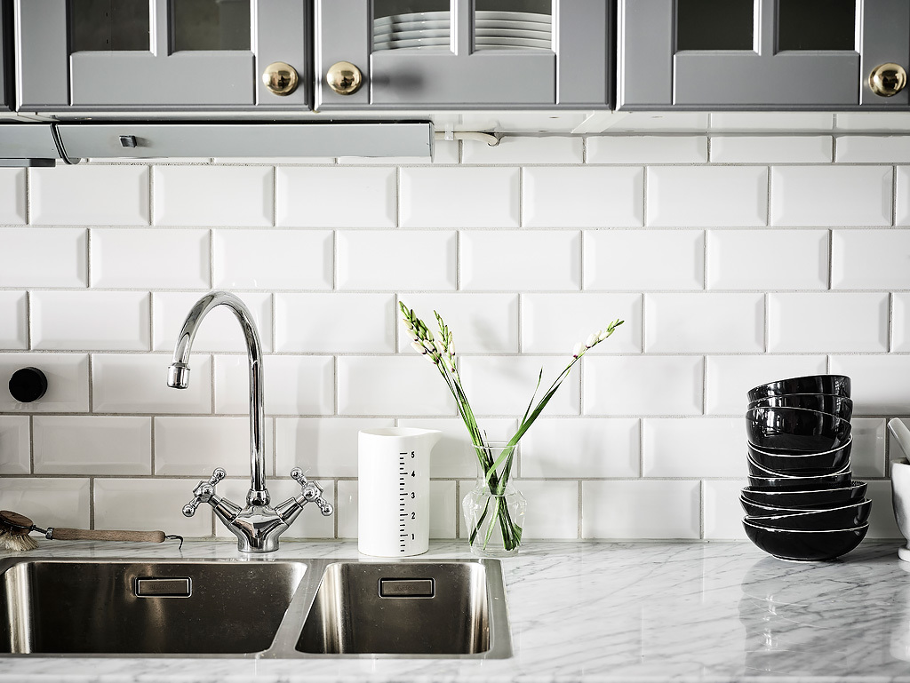 Small eat in kitchen beveled subway tile backsplash quartz small eat in kitchen beveled subway tile backsplash quartz counters grey cabinets glass front uppers 2 cococozy entrance dailygadgetfo Choice Image