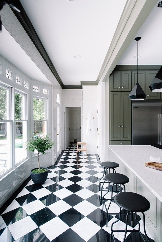Green Small Kitchen Checkered Marble Floor