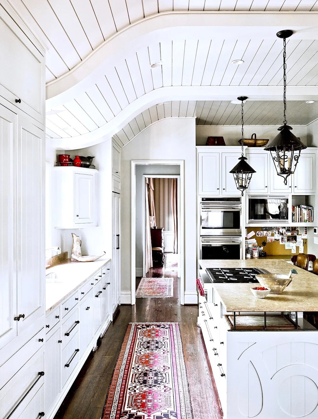Country Farmhouse Kitchen Curved Tongue Groove Ceiling