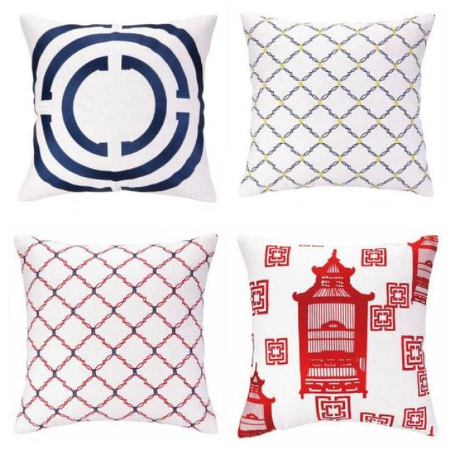 Red and blue COCOCOZY embroidered linen pillows from Peking Handicraft