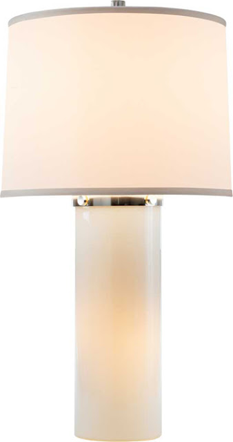 Barbara Barry design lamp with white glass with silver hardware