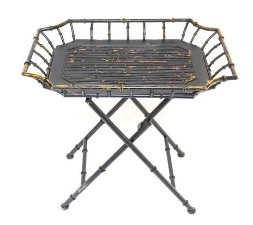 Bamboo folding table with rattan tray top from Chic Shop LA