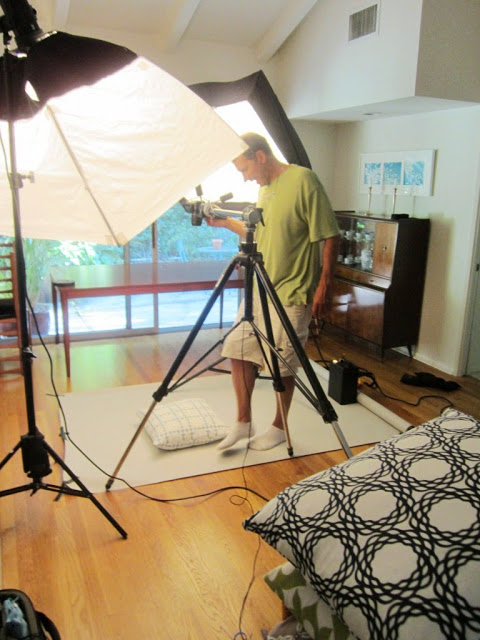 Behind the scenes of COCOCOZY pillow photo shoot