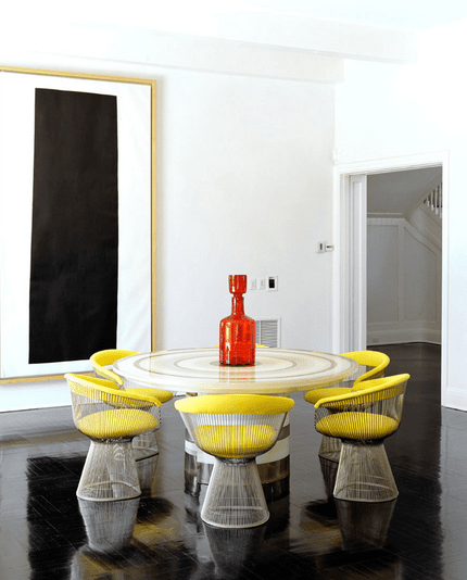 Dining Room With Platner Chairs Yellow Cushions