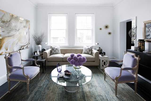 Contemporary living room with lavender accents