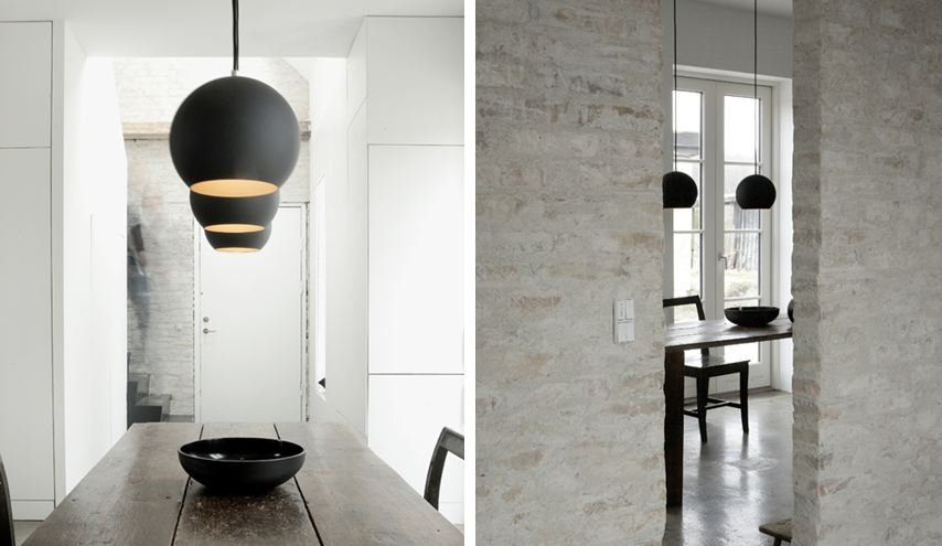Two Views Of A Modern Dining Room With Matte Black Dome Pendant Lights  Hanging Over A