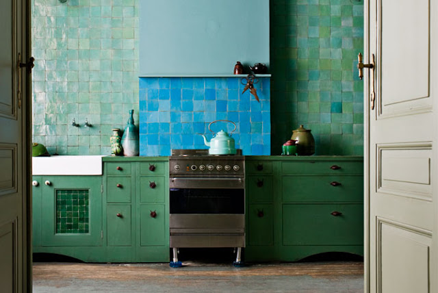 zellig tile blue green kitchen backsplash farmhouse sink rustic decor interior design home