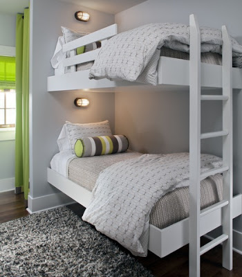 Good white bunk beds with bright green accents