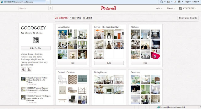 Screen grab of COCOCOZY Pinterest