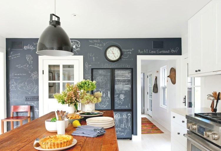 Mid-century Ranch House Renovation Kitchen Chalkboard Wall