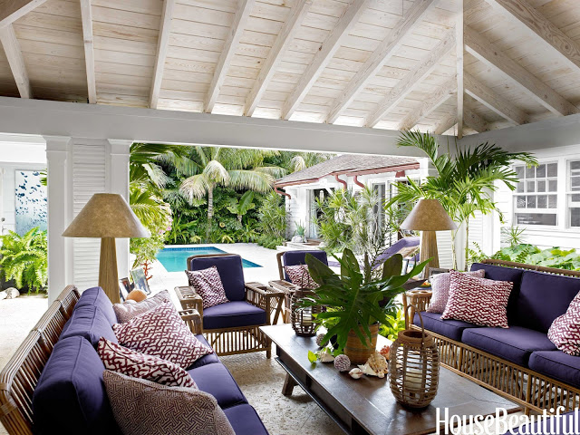 lilly pulitzer daughter liza calhoun palm beach home house living room outdoor indoor vaulted ceiling purple