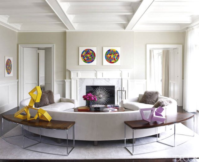 Living room in Tamara Mellon's home with pops of color