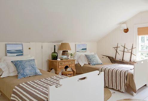Good Nautical twin bedroom with white notched wood twin beds white paneled walls a wood