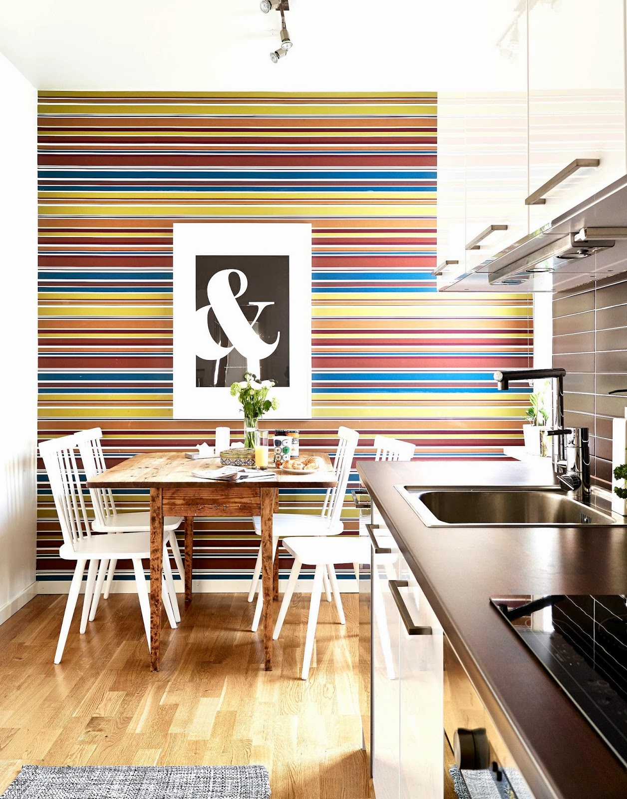 Kitchen wallpaper stripes - In This Case I Am Going To Go Against My Usual All White Inclinations And Say I Like The First Kitchen Best